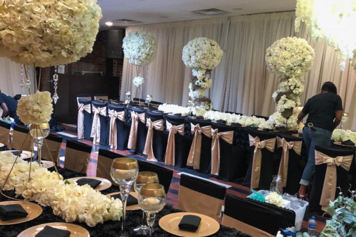 Restaurant interior, celebration preparations