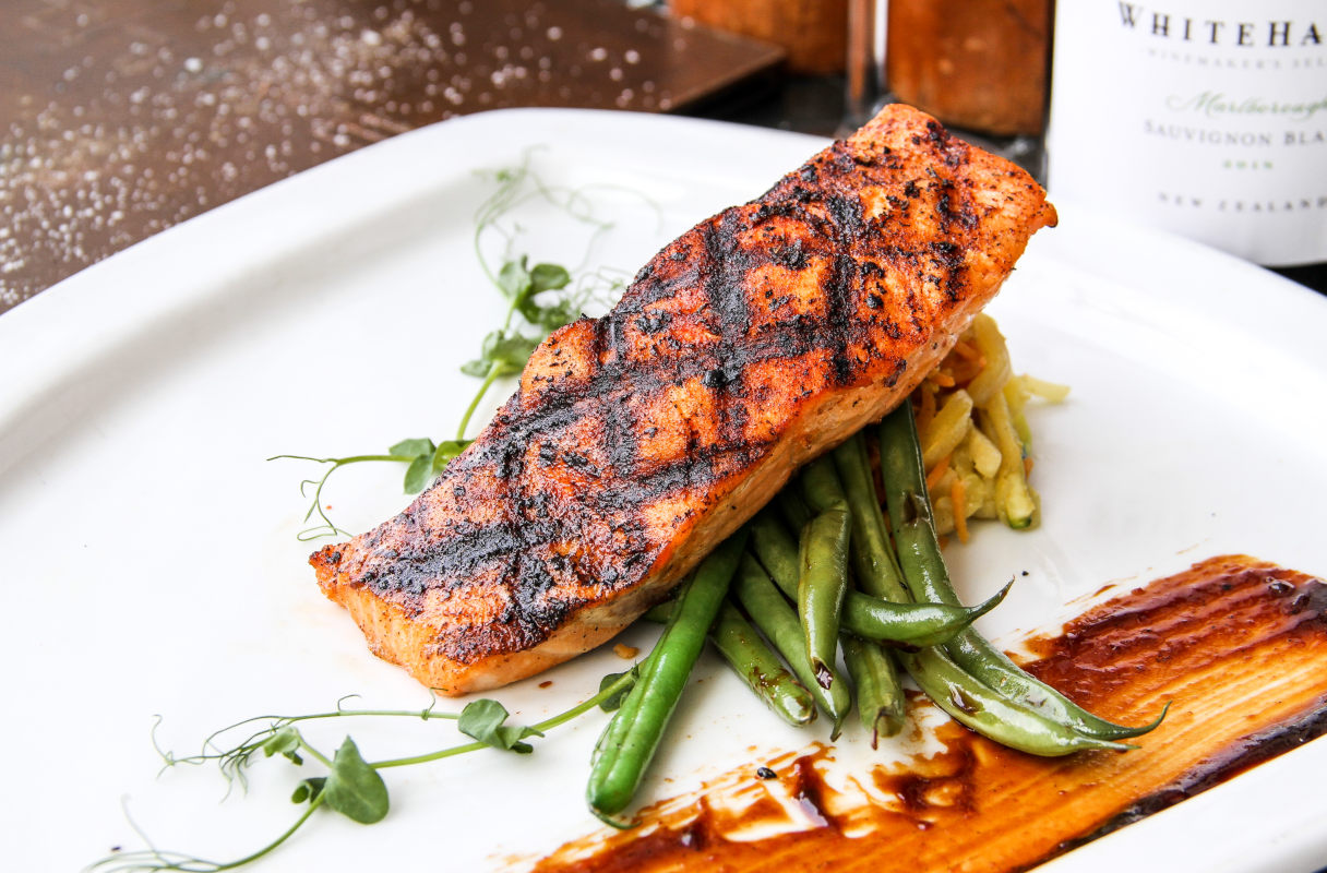 hoisin bourbon glazed salmon