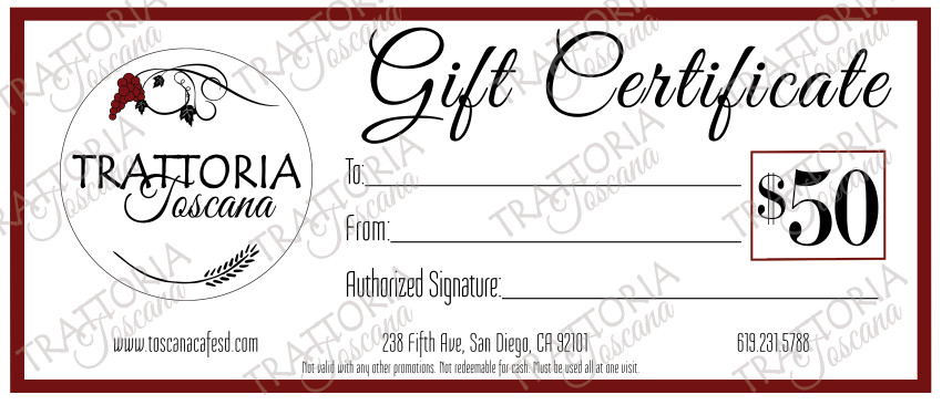 toscana gift certificate