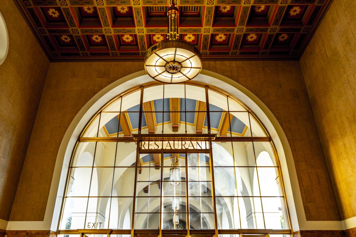 Union station, large glass, big Restaurant sign