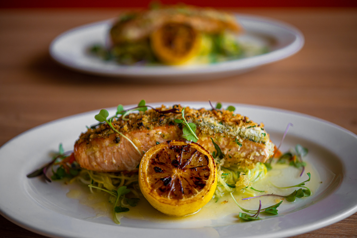 pesto crusted king salmon