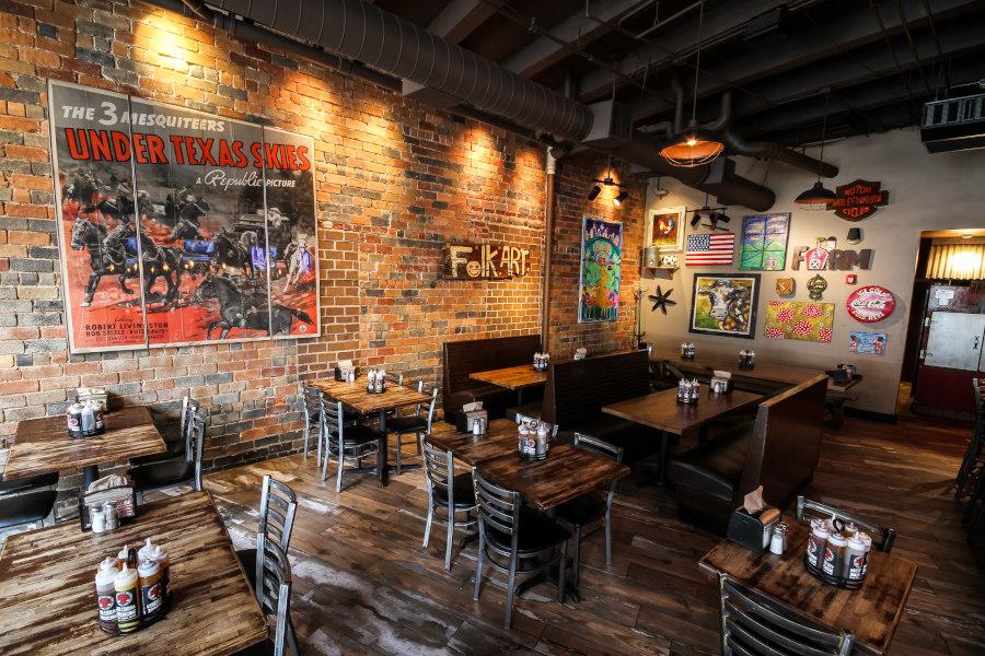 Restaurant interior, tables lined up