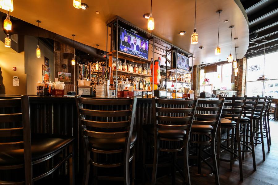 Restaurant bar area, high chair