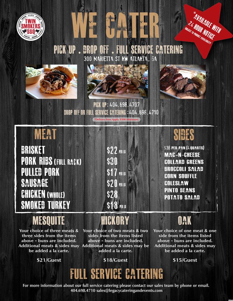 twinsmokers catering menu