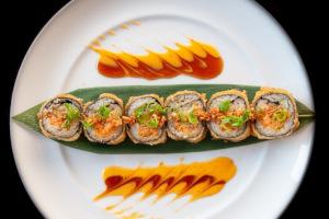 Sushi dish, top view