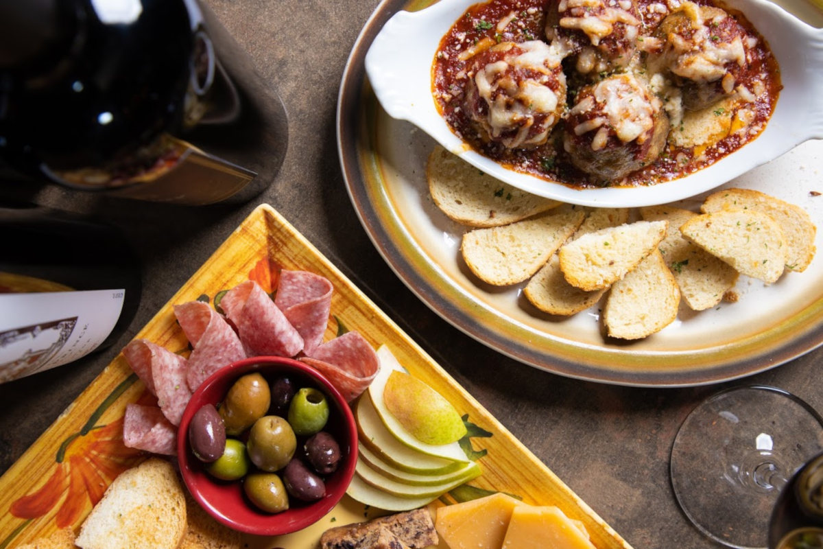 Cheese platter, deli meats and meatballs
