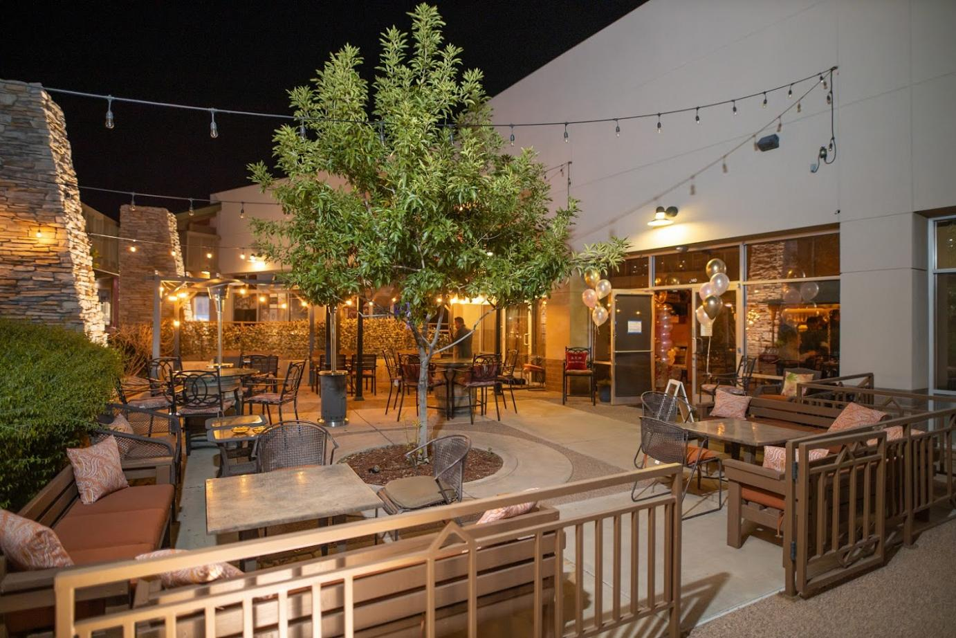 Exterior, night, outdoors seating area