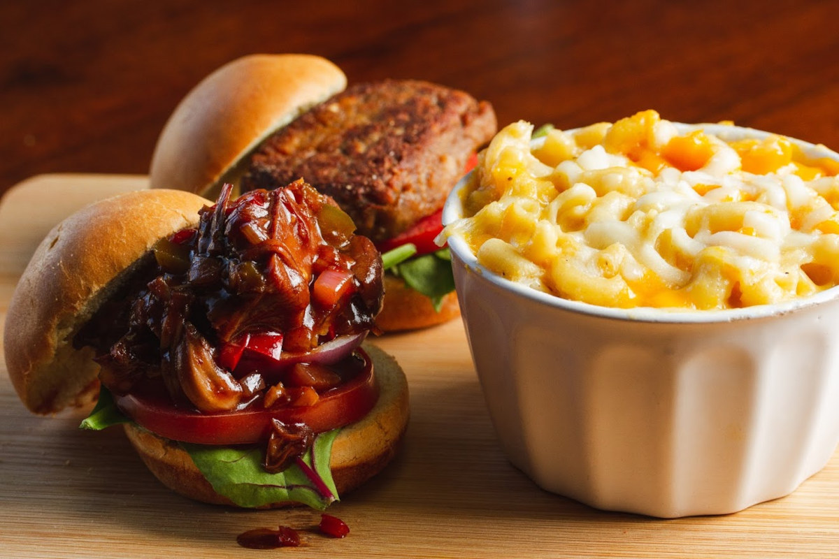 Mac and cheese, two delicious burgers