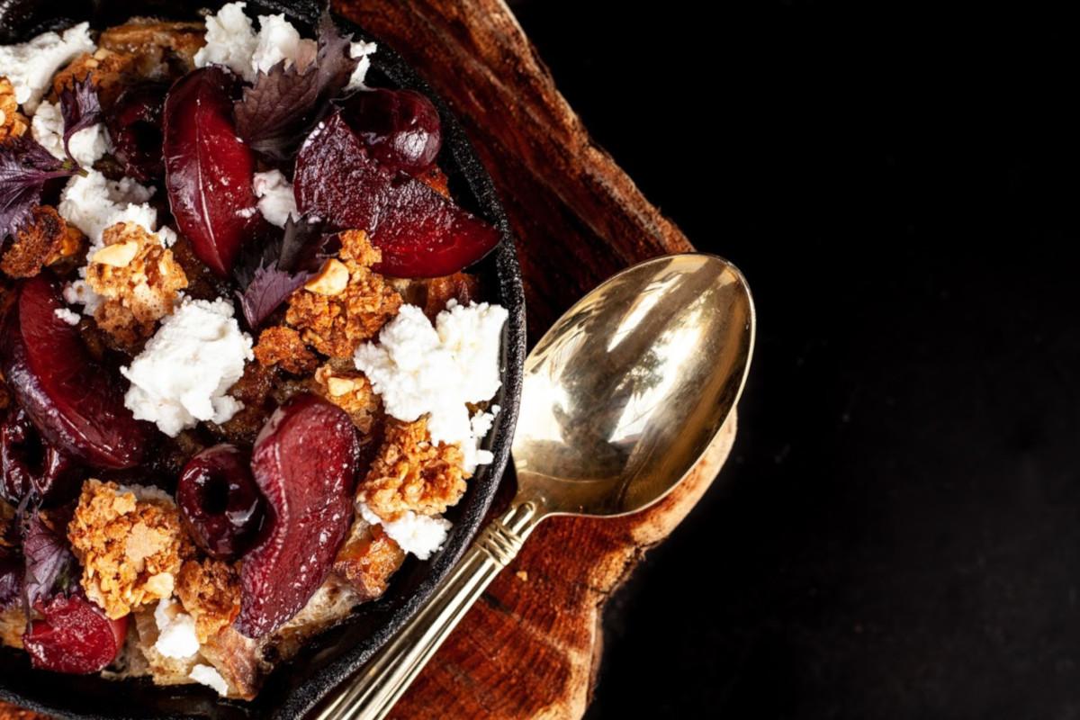 Cherry plum bread pudding