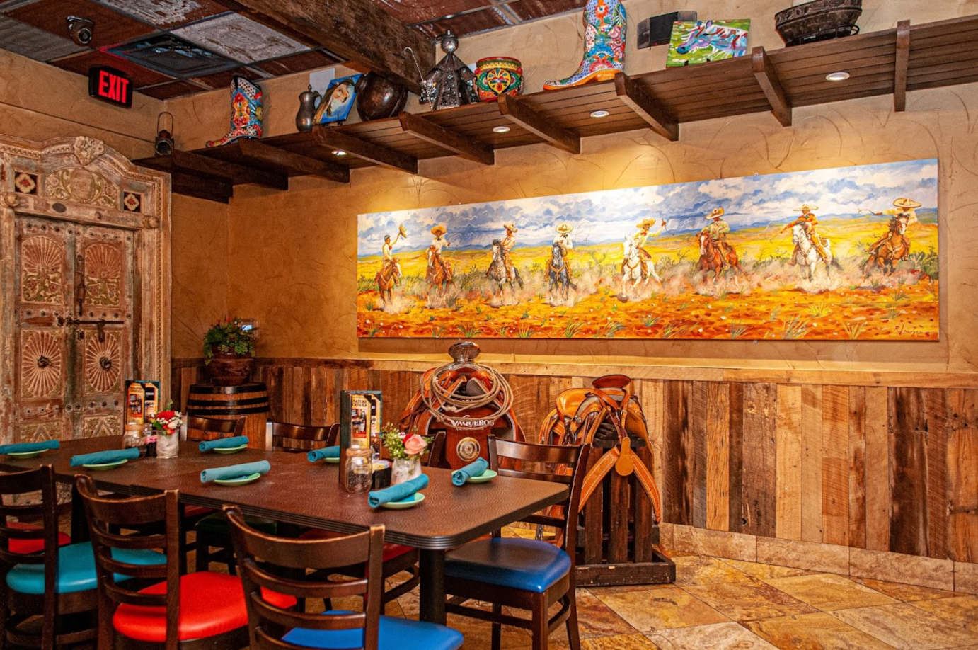 Restaurant interior, wall decorations in the back