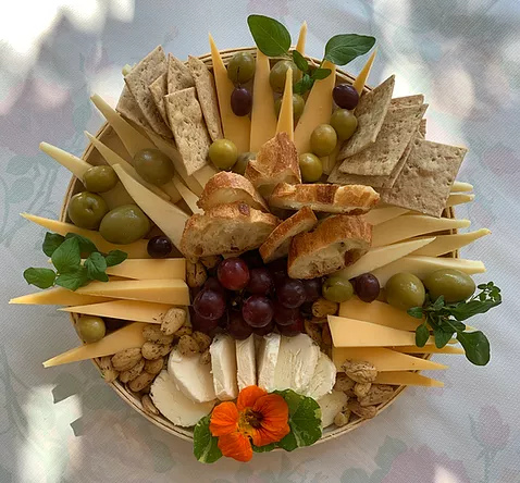 Decorated snacks, cheese and fruit
