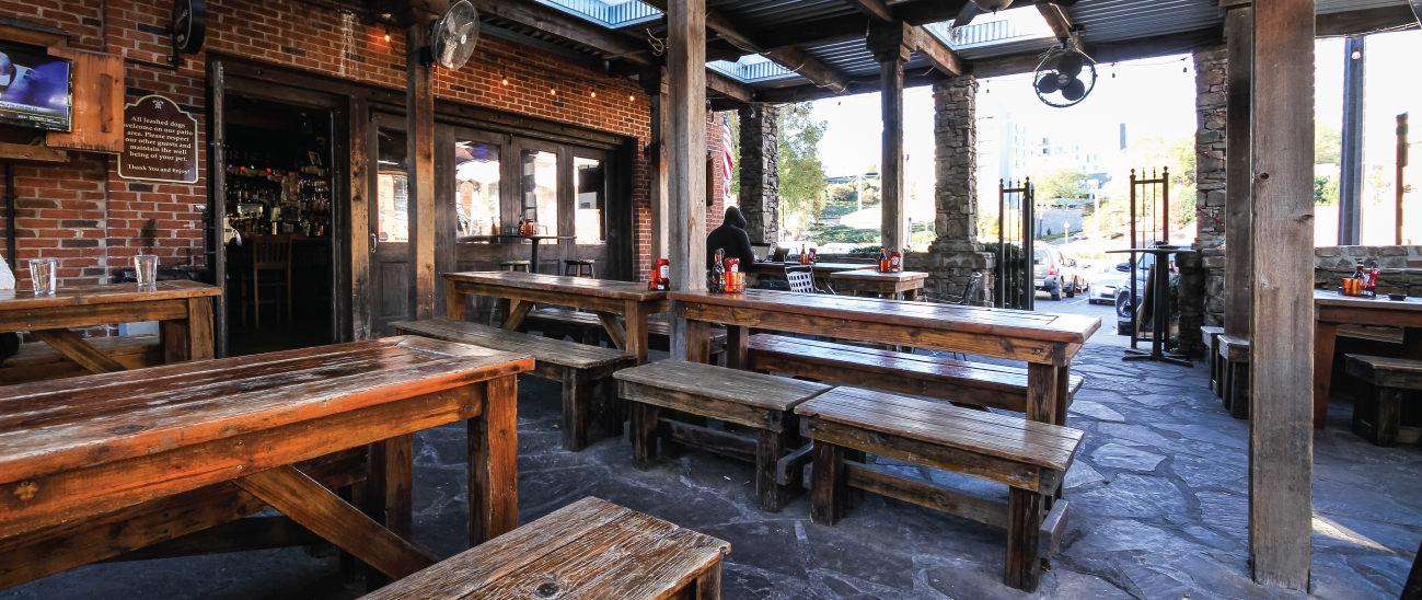 Restaurant exterior, tables outside