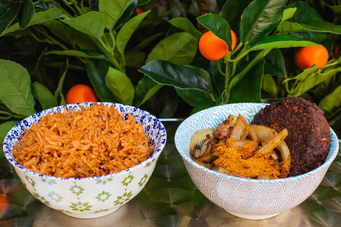 Rice and mixed dish with meat and vegetables