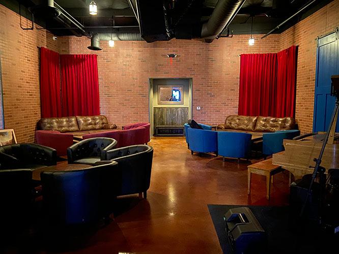 Seating area, blue door