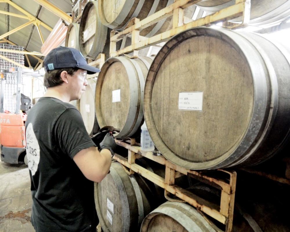 Staff member marking the barrels