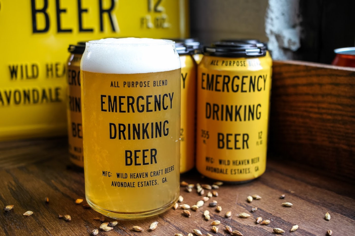 Emergency drinking beer glass and can
