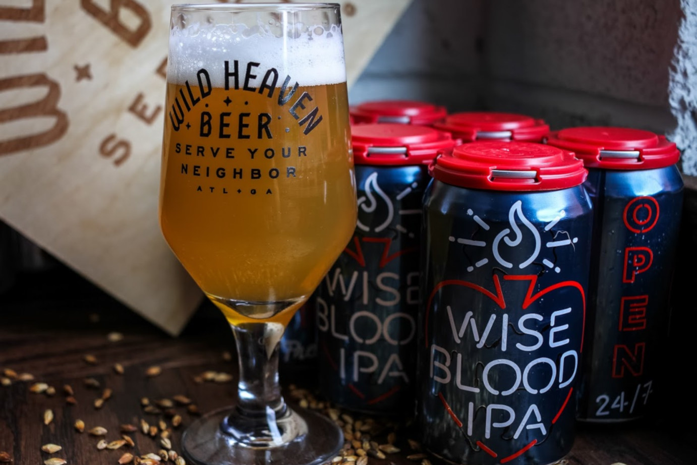 Wise blood ipa glass and can
