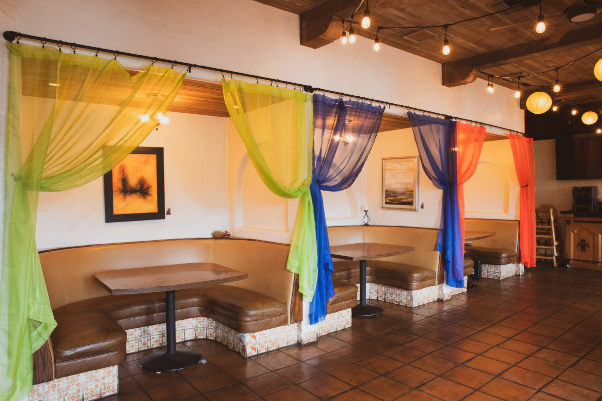 Interior, private seating areas