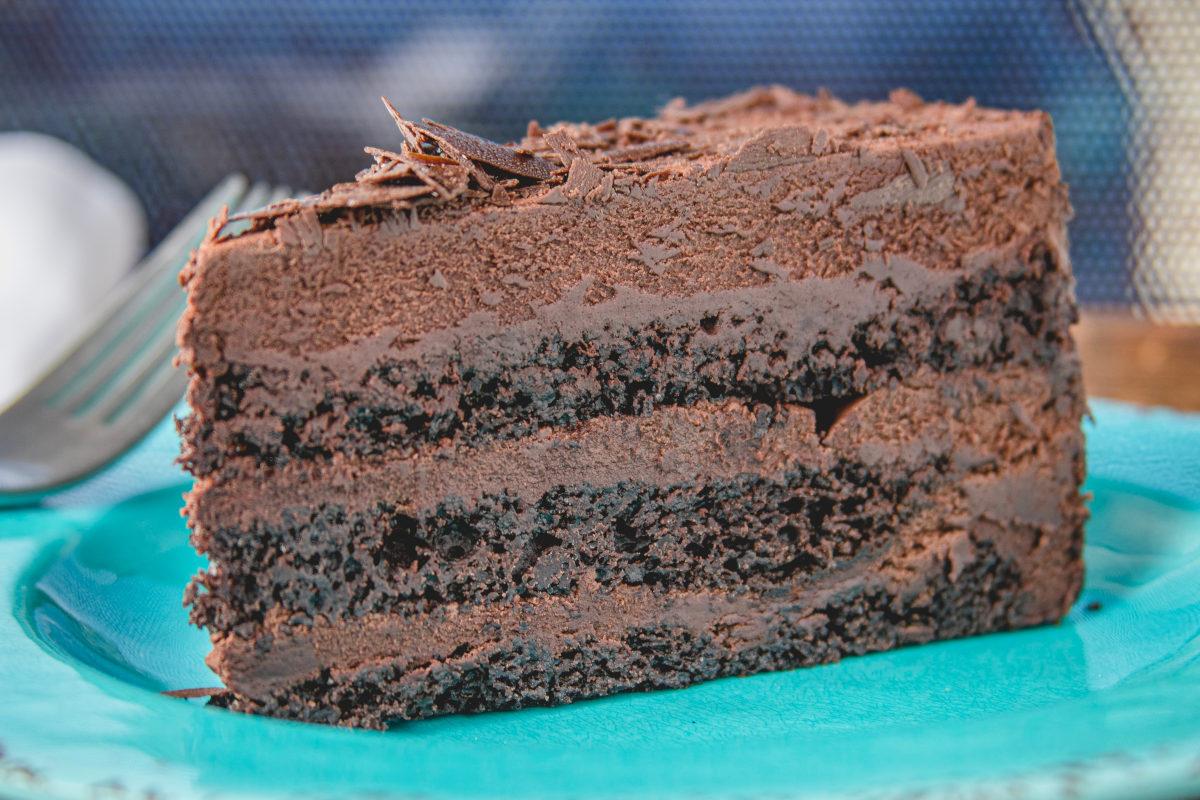 Chocolate cake closeup